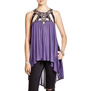 Free People Vision Quest Embellished Hi-Lo tank